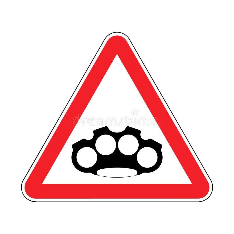 Articulation en laiton d'attention Voleur d'arme de précaution Prohibi rouge de route illustration libre de droits