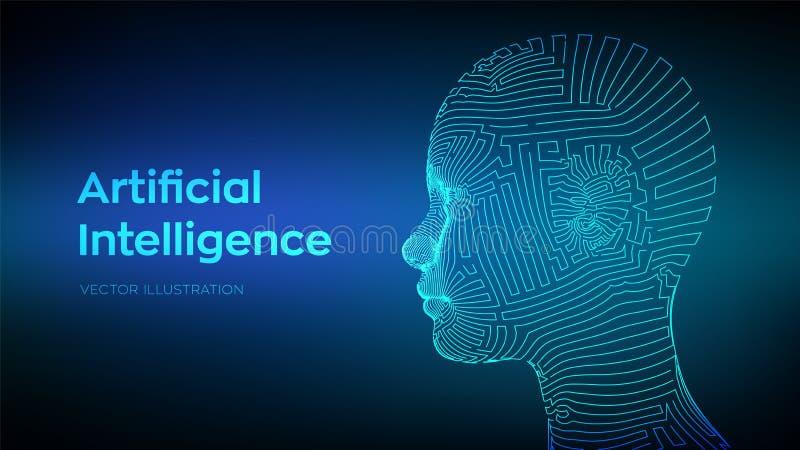 Artifactial inteligencji pojęcie Ai cyfrowy mózg Abstrakcjonistyczna cyfrowa twarz ludzka Ludzka głowa w robota komputeru interpr ilustracja wektor