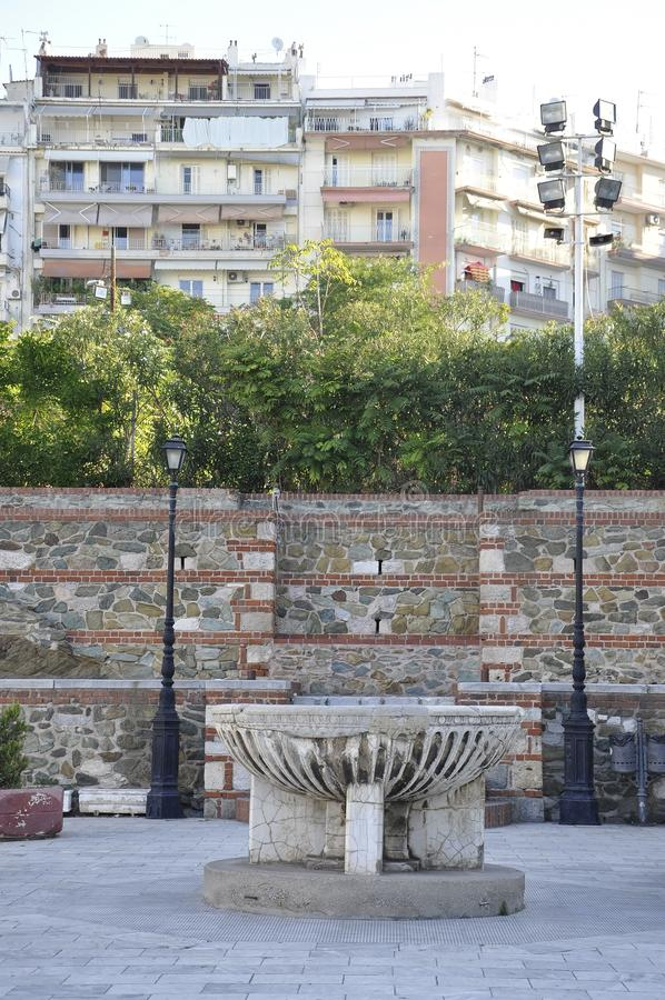 Basilica of Saint Demetrius or Hagios Demetrios courtyard from Thessaloniki the Capital of Macedonia of Greece stock images