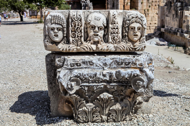 Artifacts carved pillars Myra, Turkey. One artifacts carved pillars Myra, Turkey royalty free stock photography