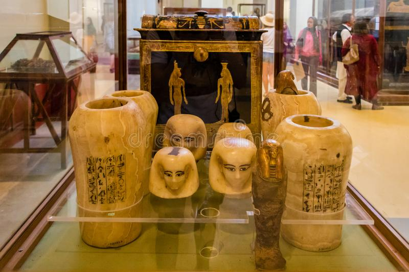 Cairo, Egypt - April 19, 2019: The artifacts in yhe Egyptian Museum in Cairo stock photo