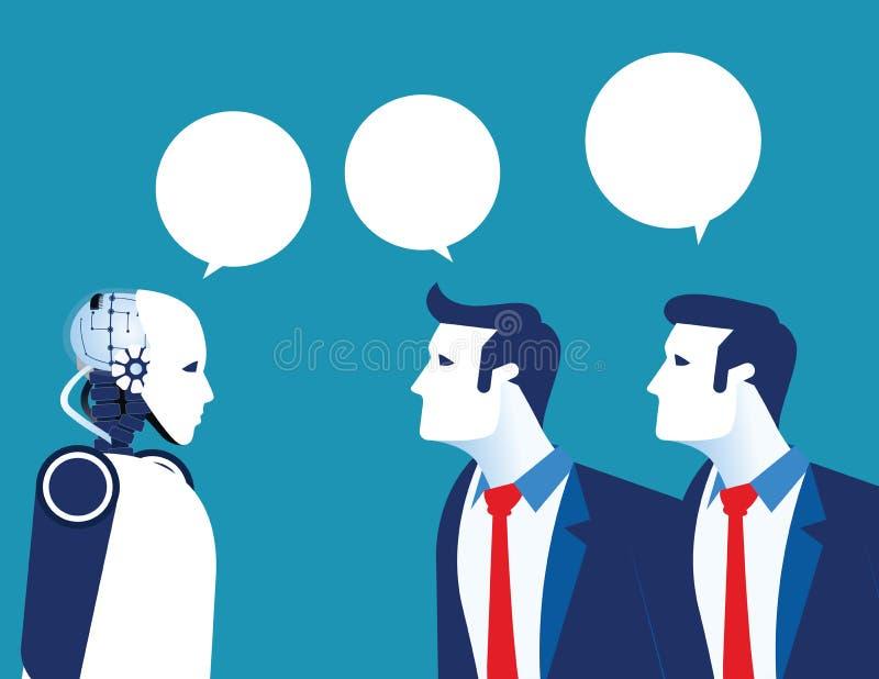 Artific智力 与现代机器人的人通信 r 皇族释放例证
