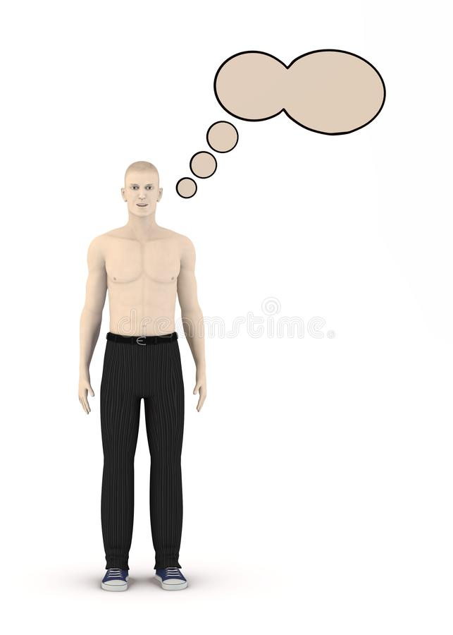 Artifical character with speech bubble - think. 3d render of artifical character with speech bubble - think stock illustration