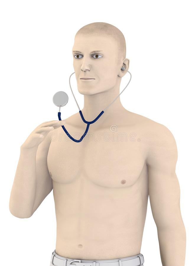 Artifical character with stethoscope - half naked vector illustration