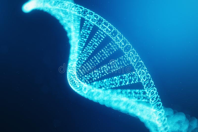 Artifical intelegence DNA molecule. Concept digital code genome. Abstract technology science, DNA consisting particle stock illustration