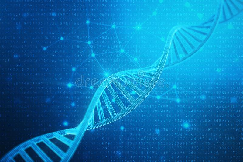 Artifical intelegence DNA molecule. DNA is converted into a binary code. Concept binary code genome. Abstract technology. Science, concept artifical Dna, 3D stock illustration