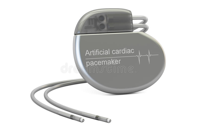 Artificial cardiac pacemaker, 3D rendering stock illustration