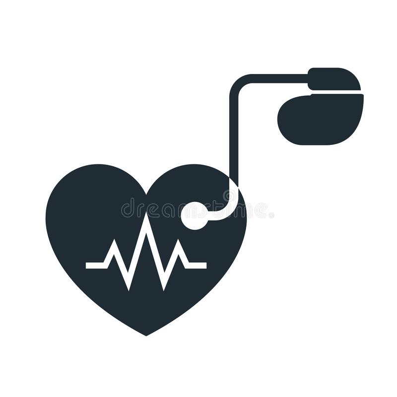 Artificial cardiac pacemaker icon vector illustration