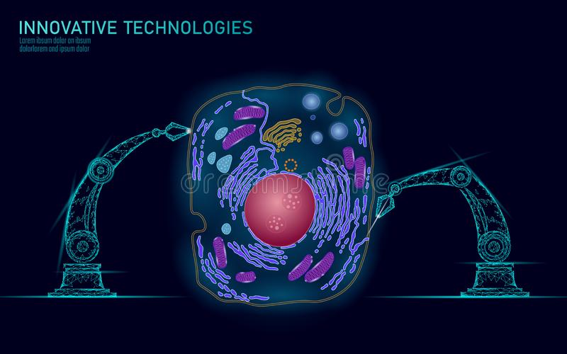 Artificial cell synthesys gene therapy DNA 3D chemical. Animal cell biochemistry engineering research concept. Biorobot. Robotic arm industry vector stock illustration