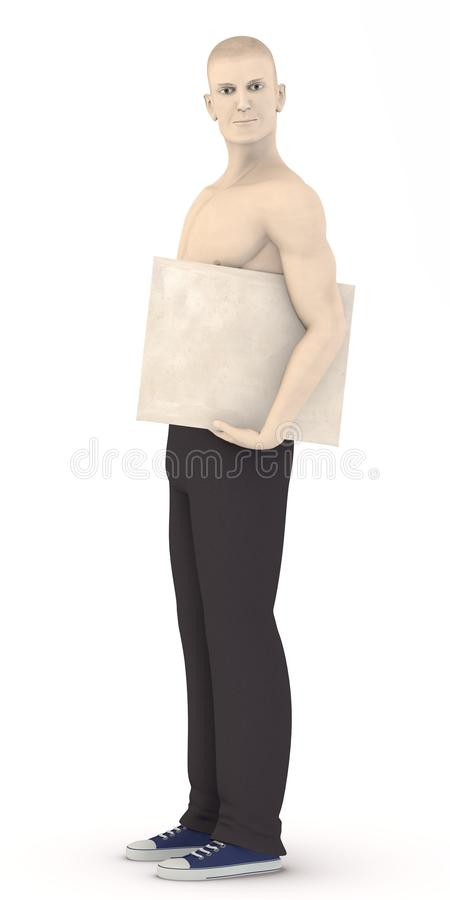 Artificial character with envelope under arm royalty free illustration