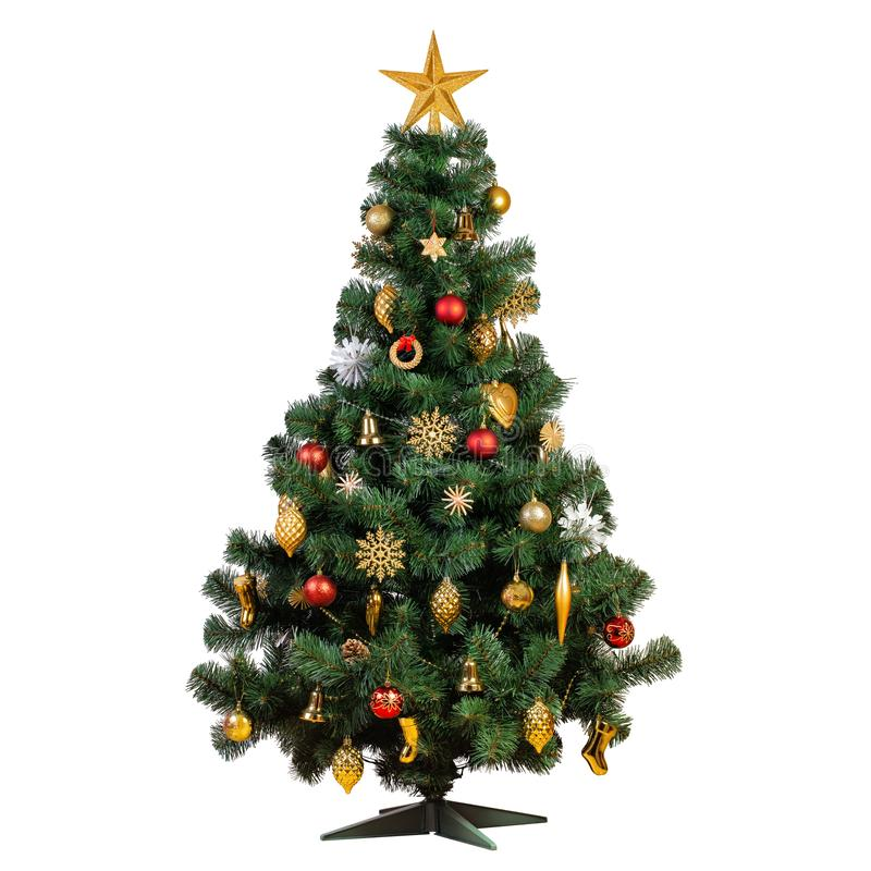 Free Artificial Christmas Tree With Beautiful Classic Vintage Decorations Royalty Free Stock Photo - 130134965