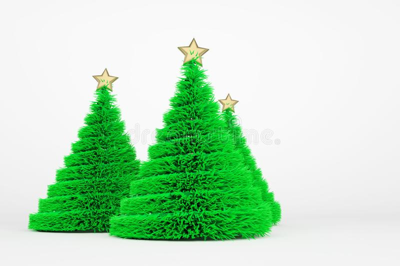 Artificial Christmas trees 3d color illustration stock illustration