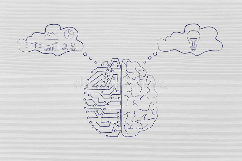 Artificial circuits and human brain with thought bubbles stock illustration