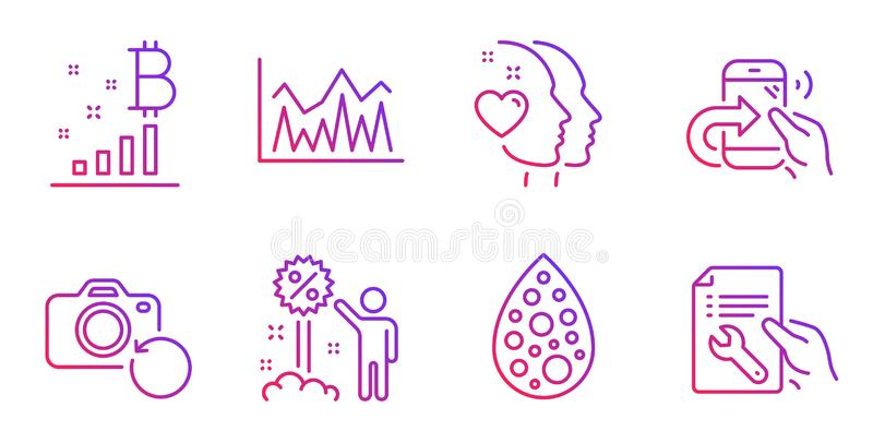 Artificial colors, Bitcoin graph and Discount icons set. Heart, Share call and Investment signs. Vector. Artificial colors, Bitcoin graph and Discount line icons royalty free illustration