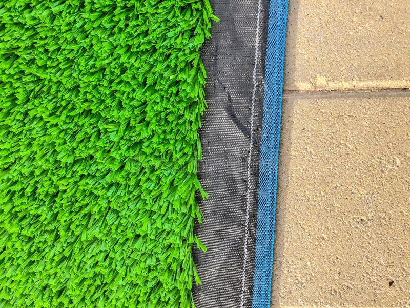 Artificial cover for the sports field. Close up shot.  royalty free stock images