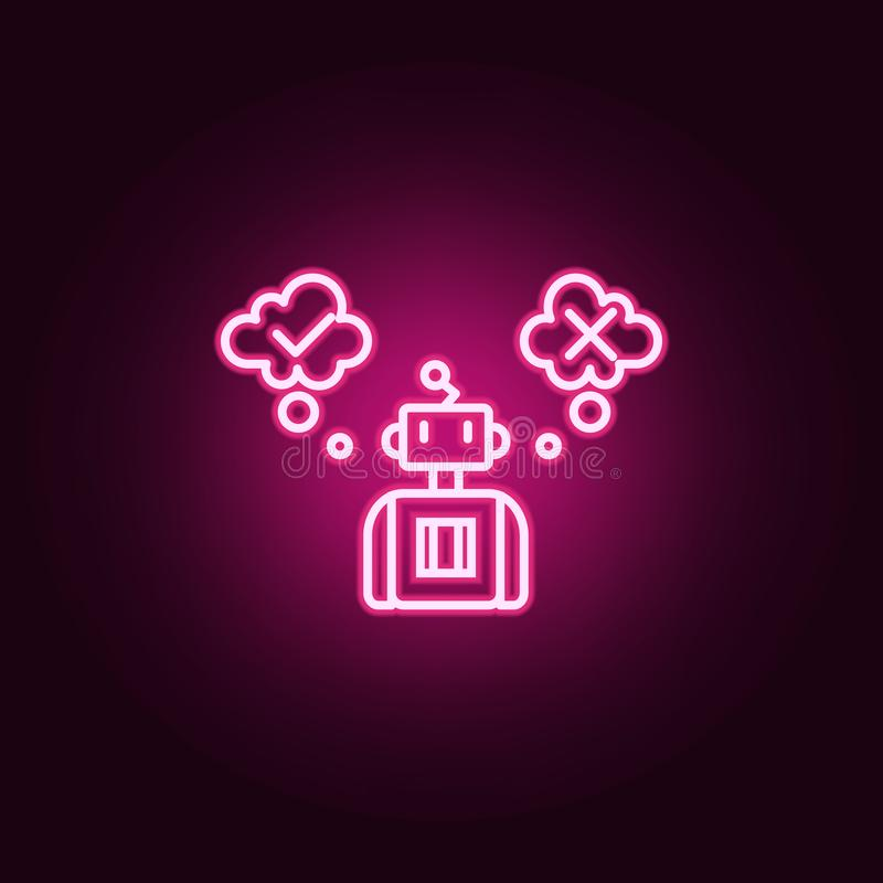 Artificial decision intelligence neon icon. Elements of Artifical intelligence set. Simple icon for websites, web design, mobile. App, info graphics on dark stock illustration