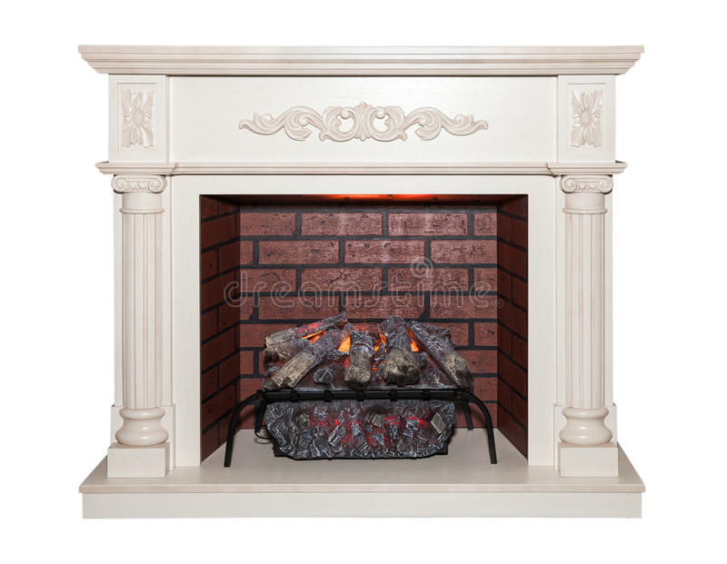 Artificial fireplace isolated royalty free stock photos