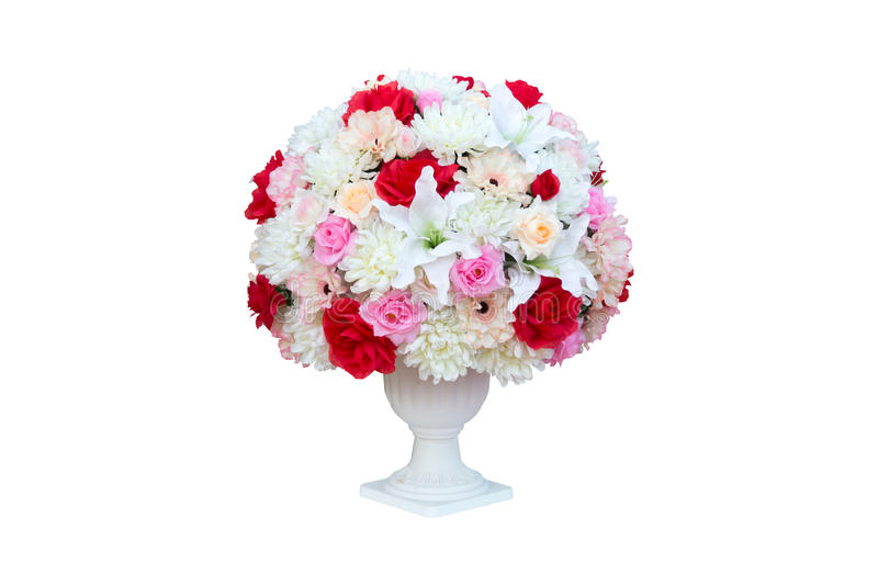 Artificial flower in roman cement pot on white background. Withclipping path stock photography