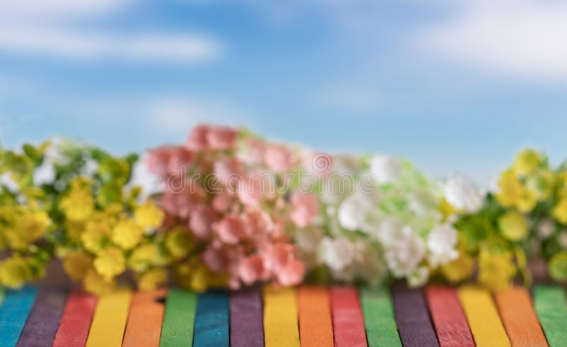 Artificial flowers on the colorful wooden with blue sky. Plastic flowers in line on the colorful wooden and blue sky. Blurred textured and backgrounds, table stock photos