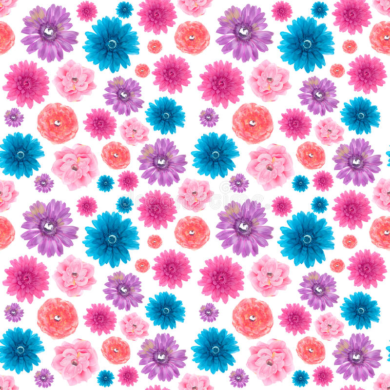 Artificial Flowers Seamless Wallpaper stock image