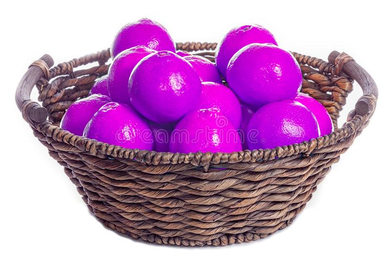 Artificial food coloring. GMO E numbers and genetically modified. Food. Purple colored oranges contrasted in a traditional hand-crafted woven basket stock photo