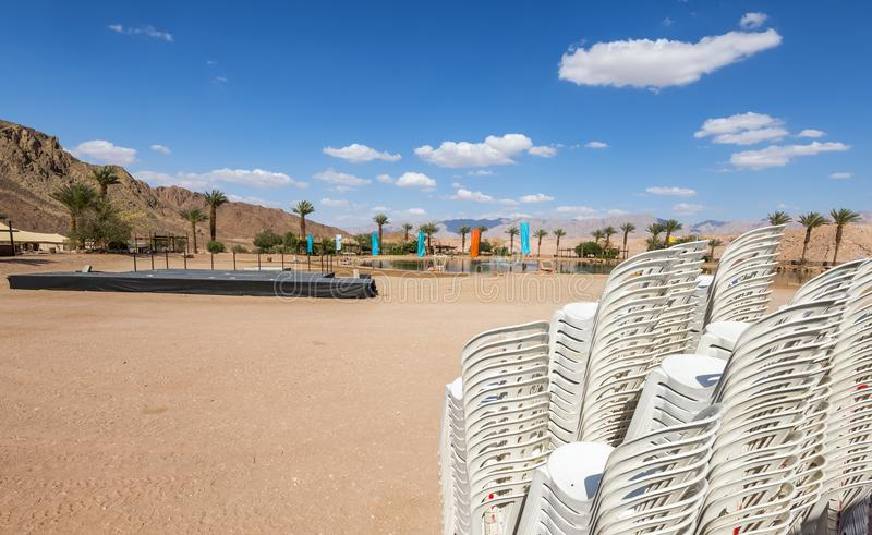 Artificial freshwater lake in geological Timna Park. Artificial freshwater lake is the heart of recreation area in geological Timna Park, it is located 25 km royalty free stock photography