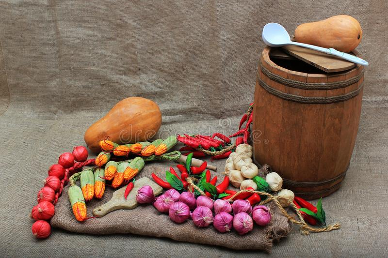 Artificial fruits and vegetables arrangement. royalty free stock image