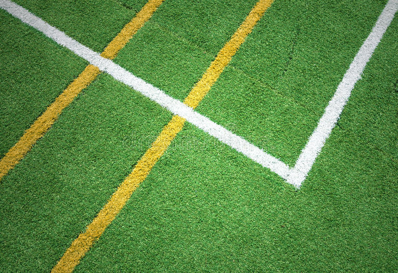 Artificial green grass with lines background stock photography