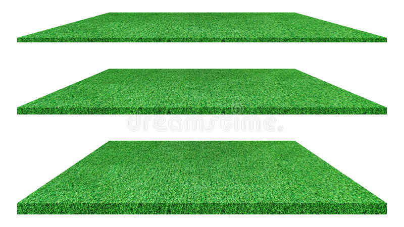 Artificial green grass texture isolated on white background. stock photo