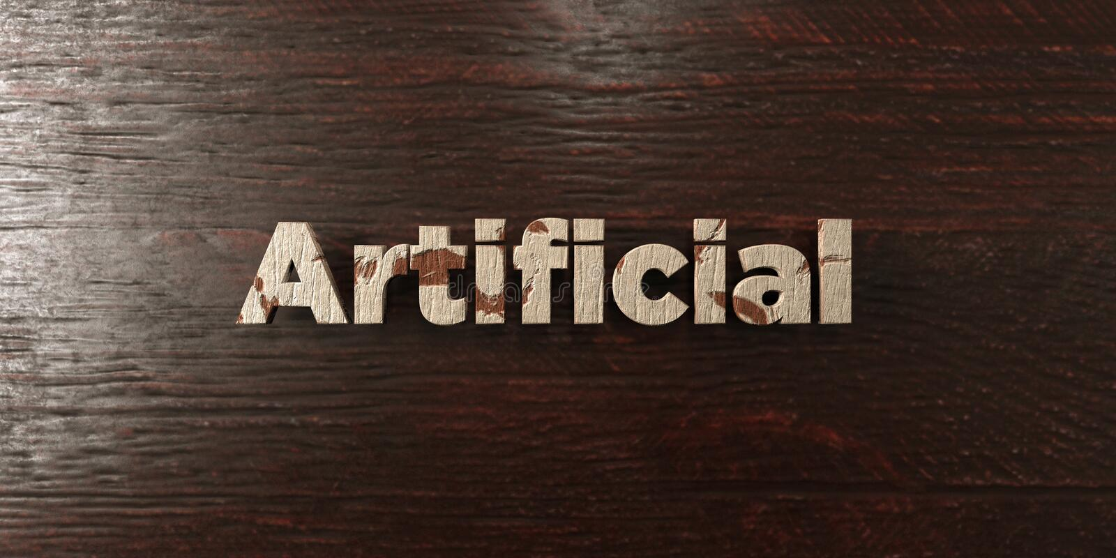 Artificial - grungy wooden headline on Maple - 3D rendered royalty free stock image royalty free illustration