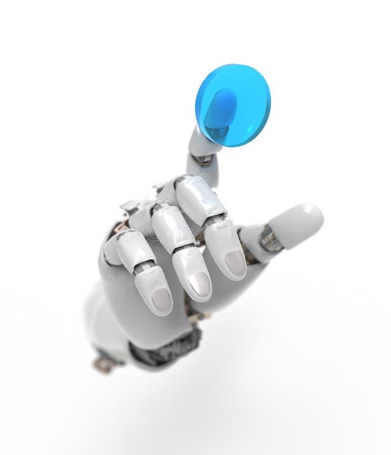 Artificial hand presses the button stock illustration
