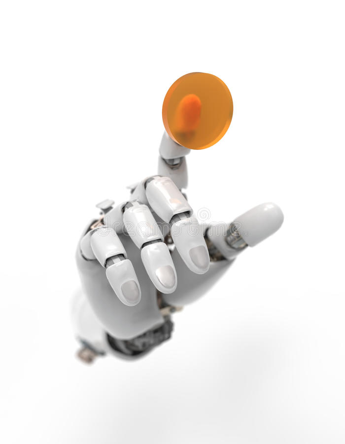 Artificial hand presses the button royalty free illustration