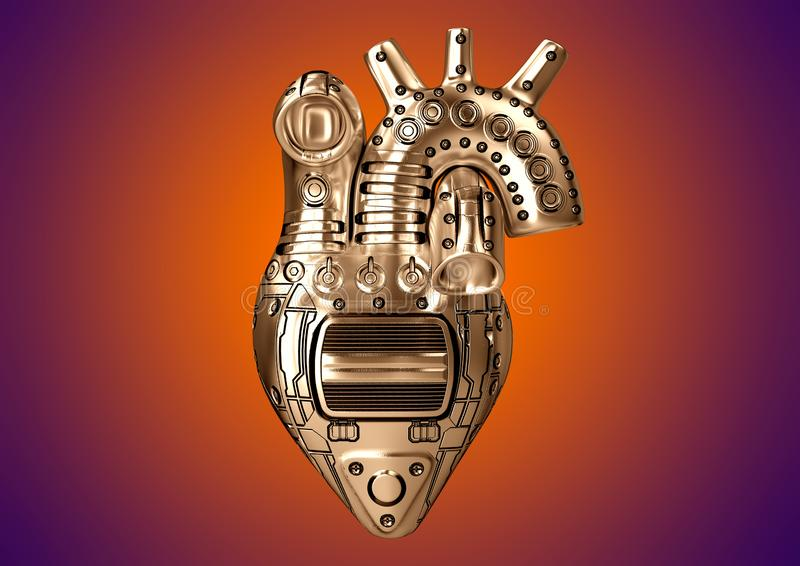 Artificial heart Steampunk style constructed of steel with rudimentary mechanical parts royalty free illustration