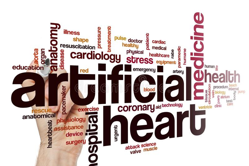 Artificial heart word cloud stock image