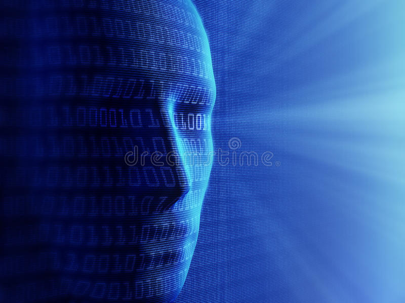 Artificial intelligence. Conceptual background- Artificial intelligence / humans and cyber-business (detailed with millions of small binary code stock photography