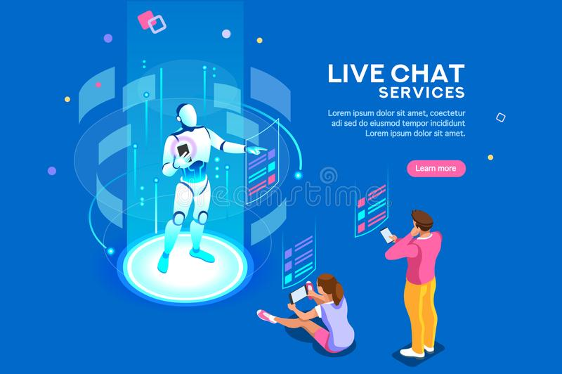 Live Chat Services Isometric Concept royalty free illustration