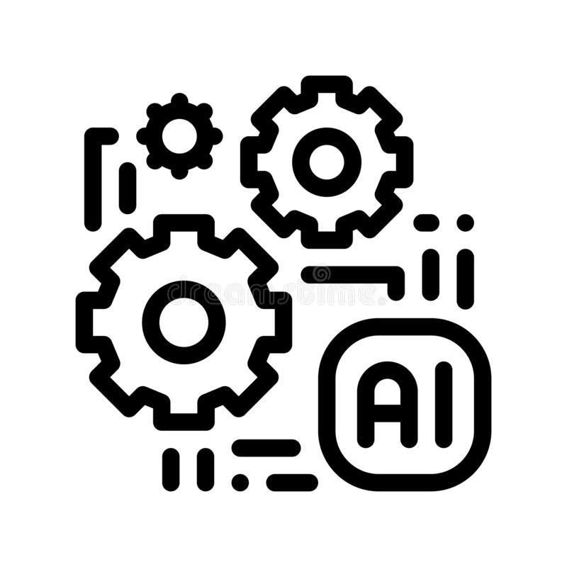 Artificial Intelligence Ai Chip Vector Sign Icon royalty free illustration