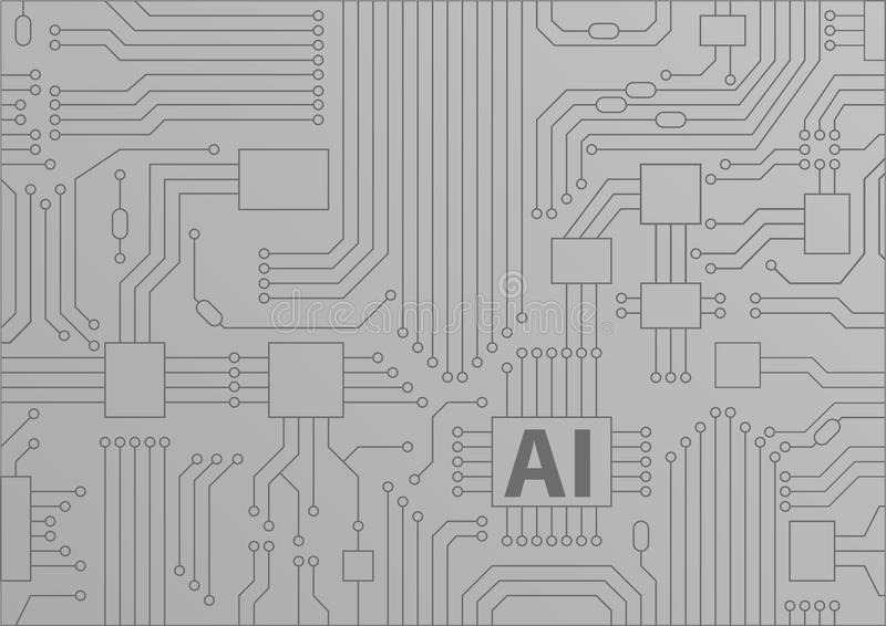 Artificial intelligence / AI concept as background with CPU / microchips stock illustration