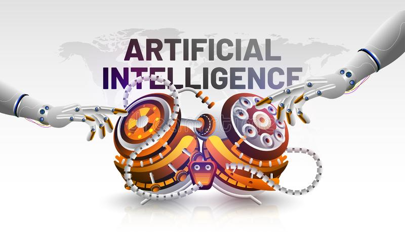 Artificial Intelligence (AI) concept based banner or poster design with 3d illustration of robotic hands touching robotic brain f. Or machine learning vector illustration