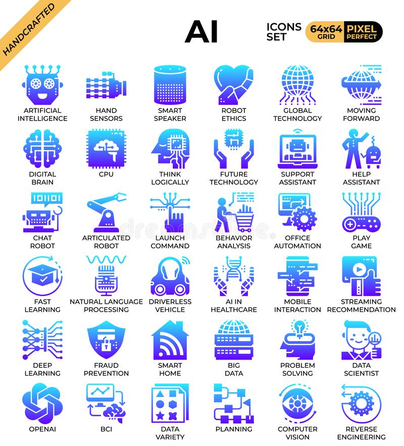 Artificial intelligence AI. Concept icons set in modern line icon style for ui, ux, web, mobile app design, etc stock illustration