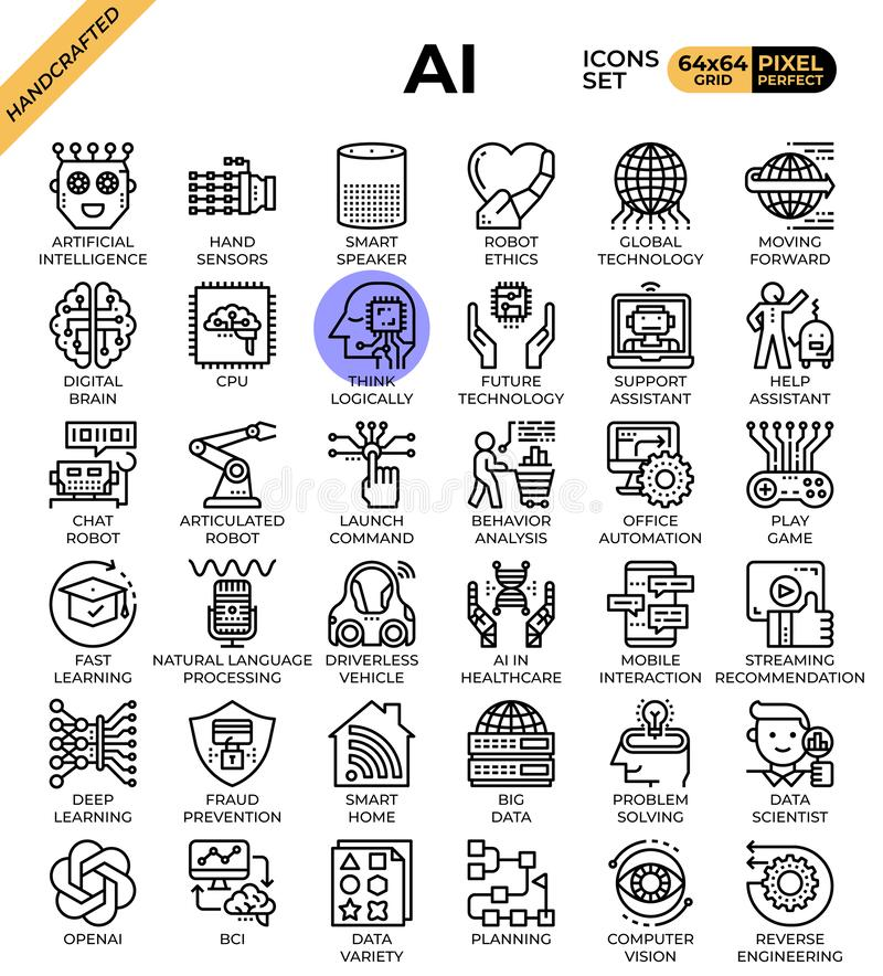 Artificial intelligence AI. Concept icons set in modern line icon style for ui, ux, web, mobile app design, etc vector illustration