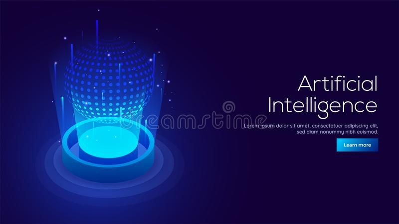Artificial Intelligence AI concept responsive landing page or. Web template with 3D isometric illustration of digital light ball between emerging rays royalty free illustration