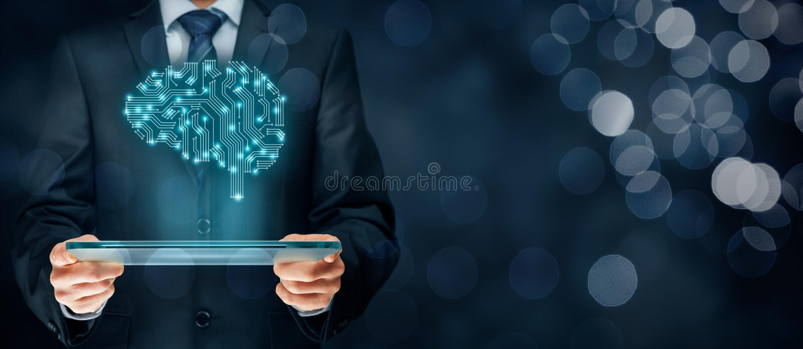 Artificial intelligence. AI, data mining, expert system software, genetic programming, machine deep learning, neural networks and another modern computer stock photos