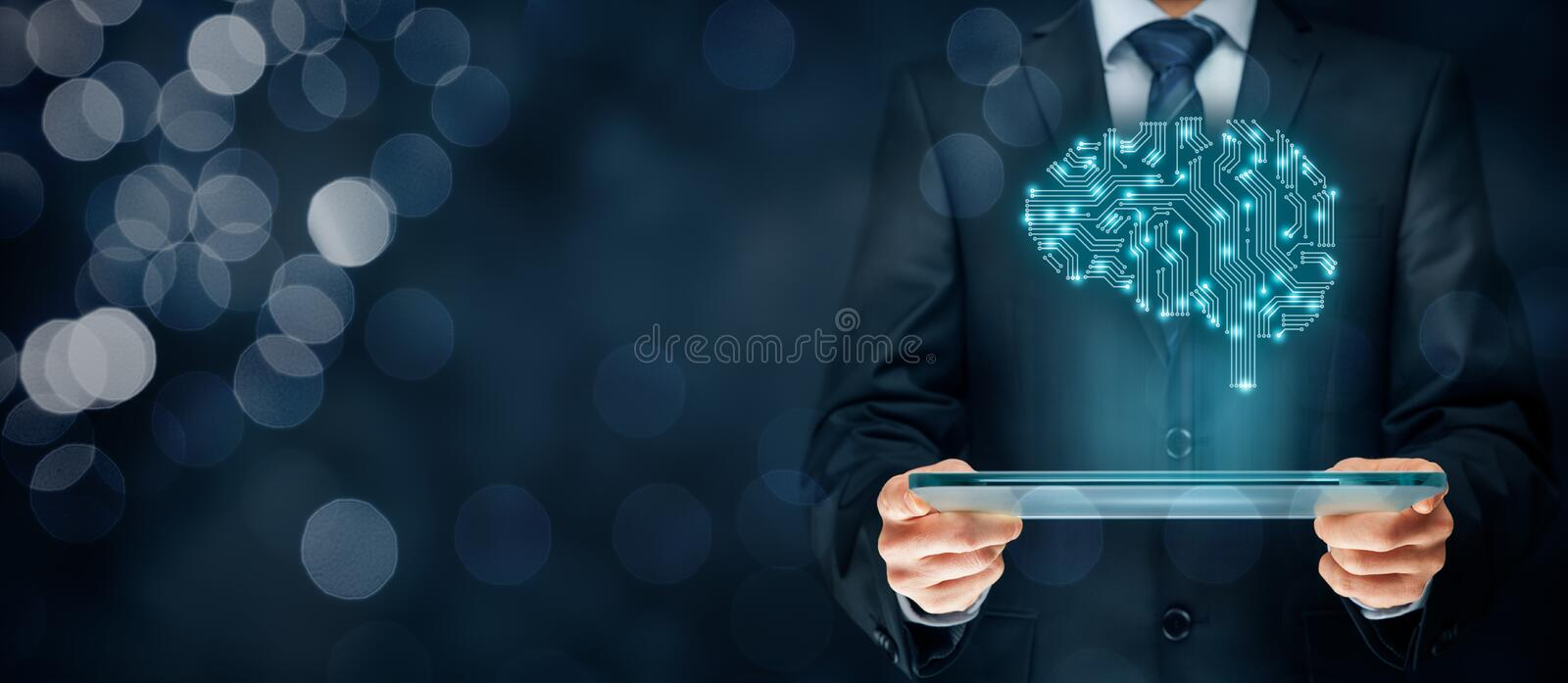 Artificial intelligence. AI, data mining, expert system software, genetic programming, machine learning, deep learning, neural networks and another modern stock image