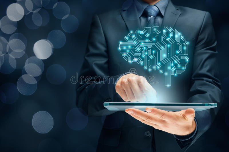 Artificial intelligence. AI, data mining, expert system software, genetic programming, machine learning, deep learning, neural networks and another modern royalty free stock images