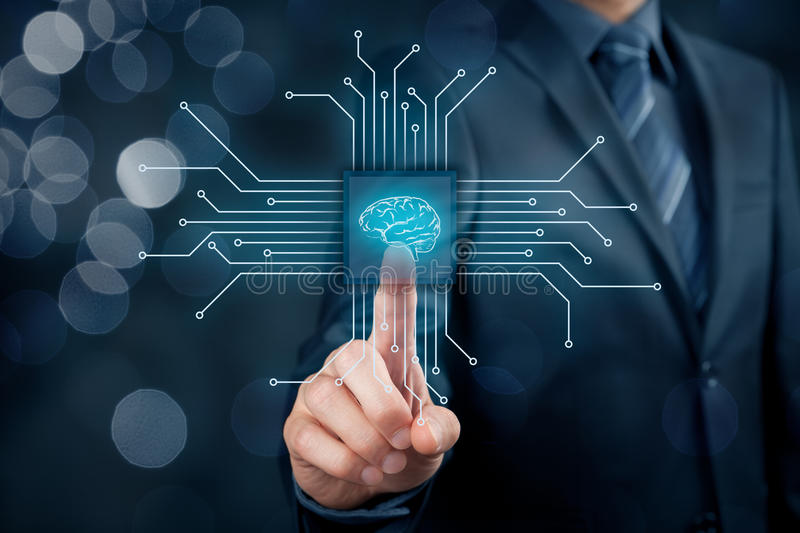 Artificial intelligence. AI, data mining, expert system software, genetic programming, machine learning, neural networks, nanotechnologies and another modern stock photography