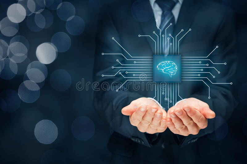 Artificial intelligence. AI, data mining, expert system software, genetic programming, machine learning, neural networks, nanotechnologies and another modern royalty free stock photography