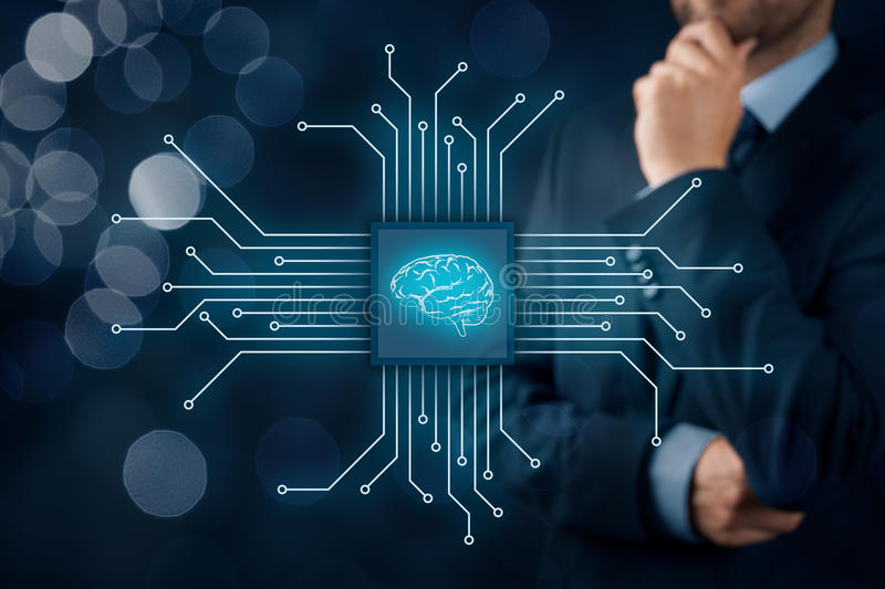 Artificial intelligence. AI, data mining, expert system software, genetic programming, machine learning, neural networks, nanotechnologies and another modern royalty free stock images