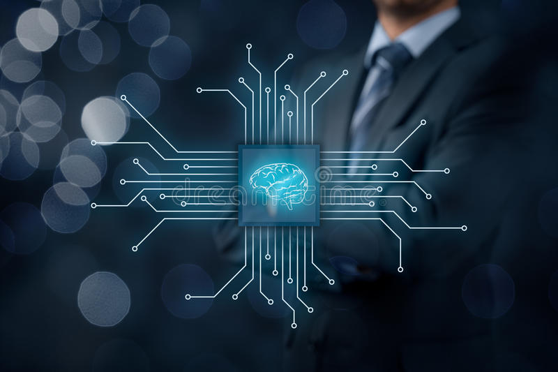 Artificial intelligence. AI, data mining, expert system software, genetic programming, machine learning, neural networks, nanotechnologies and another modern stock photos