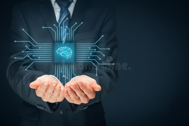 Artificial intelligence. AI, data mining, expert system software, genetic programming, machine learning, neural networks, nanotechnologies and another modern stock photo